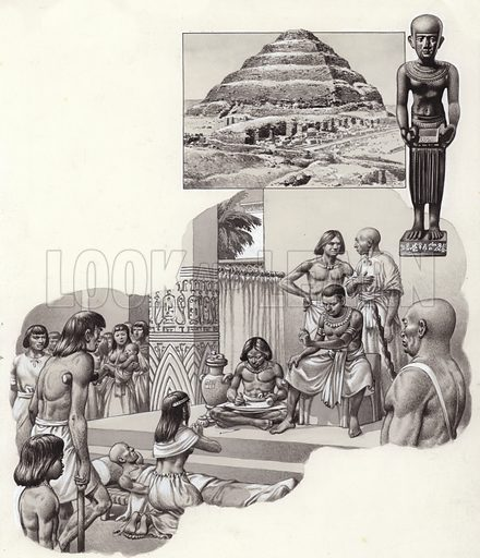 "Imhotep ""the good physician"" giving advice to a sick man; (top) The pyramid of Zoser at Sakkara, built by Imhotep, a statue of whom can be seen next to it. From Look and Learn 638 (6 April 1974)."