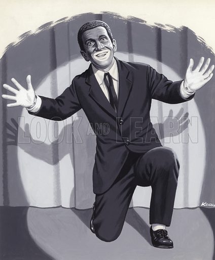 Al Jolson, the Jazz Singer.  Original artwork for Look and Learn.