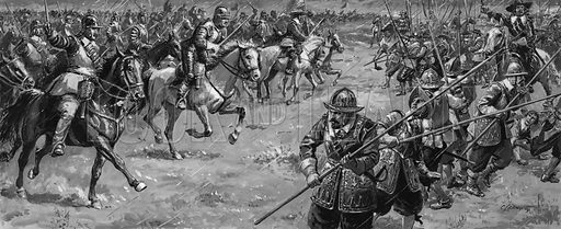 The Battle of Naseby.  Original artwork for Look and Learn.