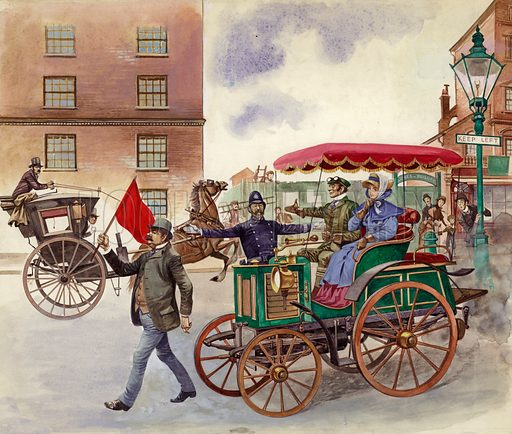 Early Car, with Man in front with a Red Flag. Original artwork for Treasure.