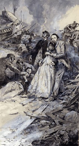 Charles Dickens and the railway accident.  The year was 1865 and Dickens, the famous author, was on an express train back to London when it derailed. Only after he helped with the wounded and dying did he go back to the surviving carriage to rescue something more personal -- the manuscript of his latest novel. Originally published in the 24 December 1966 issue of Look and Learn.