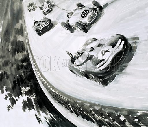 Race of Two Worlds (500 Miglia di Monza) motor race, Monza, Italy, 1957. Jaguar cars finished the race in fourth, fifth and sixth places. From Look and Learn 568 (2 December 1972).