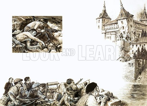 The Alcazar's north-east tower fell on 4 September 1936. Bells and cheers rang out all over Toledo, Spain. From Look and Learn 436 (23 May 1970).