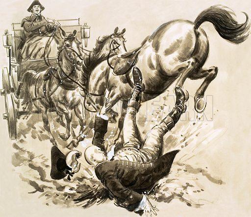Dr Slop falls off horse,  picture, image, illustration