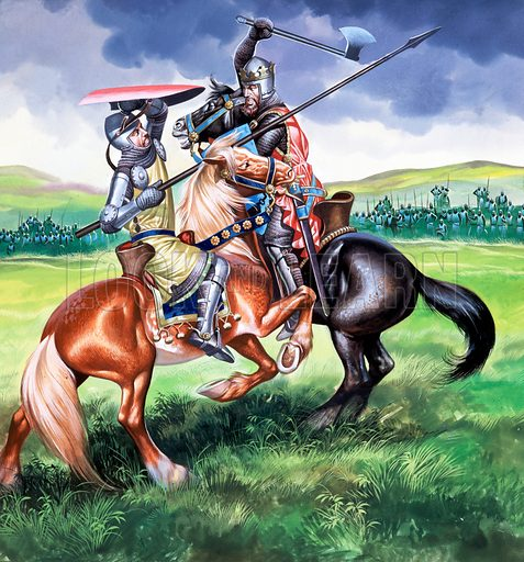 Robert Bruce about to kill Sir Henry de Bohun. Original artwork for cover of Look and Learn issue no 31.