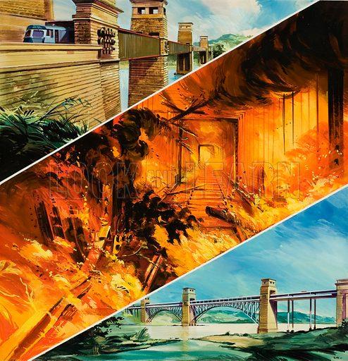 Britannia Bridge over the Menai Strait. Original artwork for cover of Look and Learn issue no 643 (11 May 1974).
