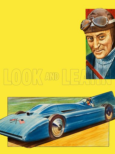 The Search for Speed. Sir Donald Campbell and Bluebird. Original artwork for the illustrations on p2 of L&L no. 1027 (14 November 1981).