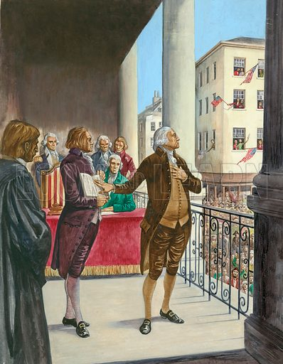 George Washington being sworn in as the first President of America in New York.