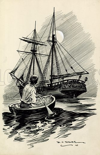 Treasure Island. Original artwork for book or annual illustration.