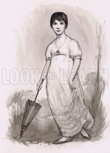 The young Jane Austen. Original artwork for illustration in Look and Learn.
