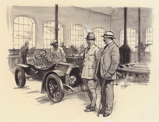 Bugatti's first workshop at Molsheim. Original artwork for Look and Learn.