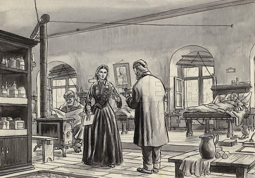 Florence Nightingale working at the hospital in Scutari. Original artwork for Look and Learn.