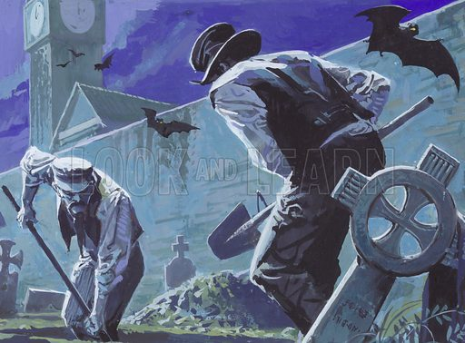Burke and Hare, Grave Robbers and Murderers. Original artwork for Look and Learn Book 1985.
