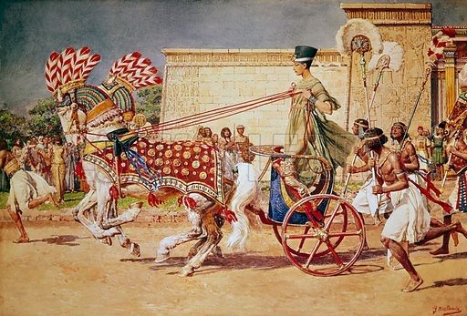Nefertiti, Queen of ancient Egypt, in her royal chariot, 14th Century BC
