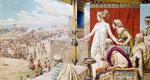 Helen watching Menelaus and Paris fight from the walls of Troy.