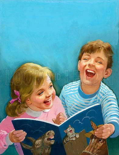 Children laughing.  Original artwork for Once Upon a Time.