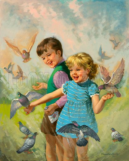 Boy and girl with pigeons. Original artwork for Once Upon a Time.