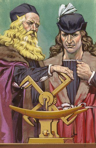 Leonardo Da Vinci explaining the concept of a dredger, using a model.