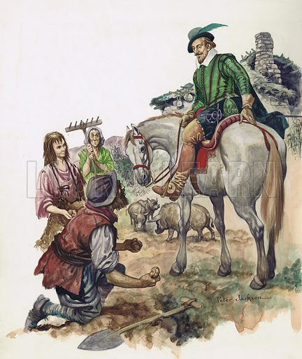 Sir Walter Raleigh makes the Irish peasants plant the new Indian root called the potato in their fields.