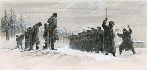 Last minute reprieve saving Russian novelist Fyodor Dostoyevsky from execution by firing squad, 1849.