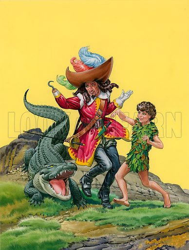 Peter Pan, Captain Hook and the crocodile.