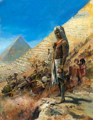 Building of the Pyramids of ancient Egypt.