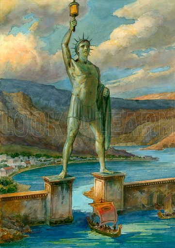 Colossus of Rhodes, one of the Seven Wonders of the Ancient World.