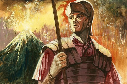 Roman soldier with Vesuvius erupting behind