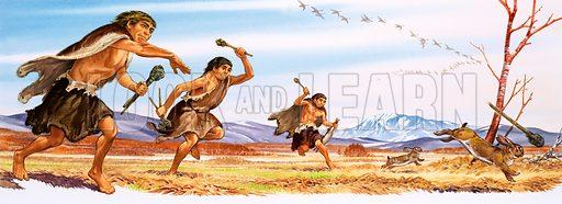 Neanderthal boys hunting rabbits.