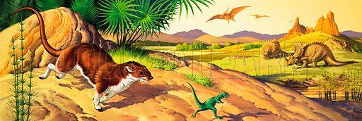 Deltatheridium, Pteranodon, and Triceratops.