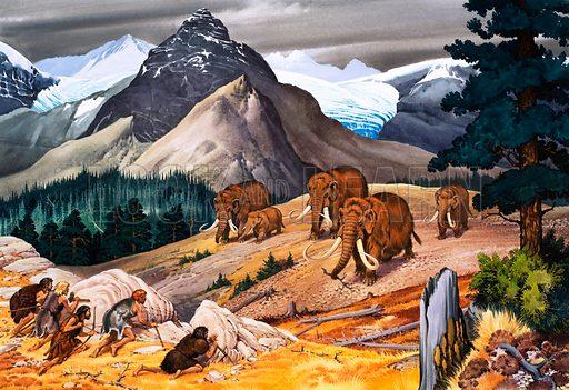 Prehistoric men hunting mammoths.
