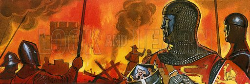 King Edward I in front of the Norman castle above Abermule which he destroyed in his wars against the Welsh.