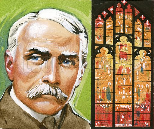 Edward Elgar, and the window in Worcester Cathedral based on his Dream of Gerontius.