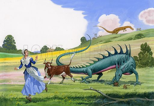 Dragons attacking cattle.