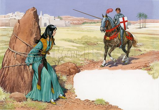St George rescuing the damsel in distress.