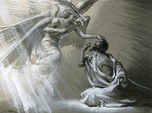 Isaiah's vision, in which one of the angels took a hot piece of charcoal from the altar.