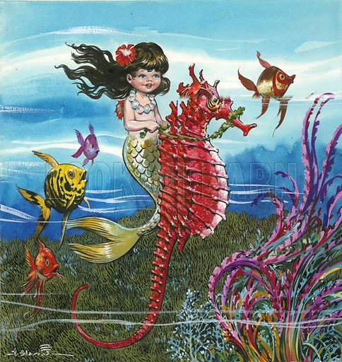 Mermaid on a seahorse.