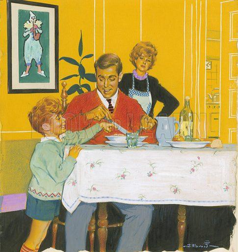 Daddy having dinner.