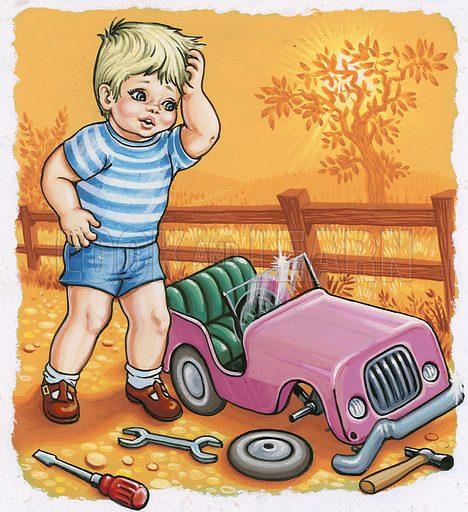 Boy with broken toy car.