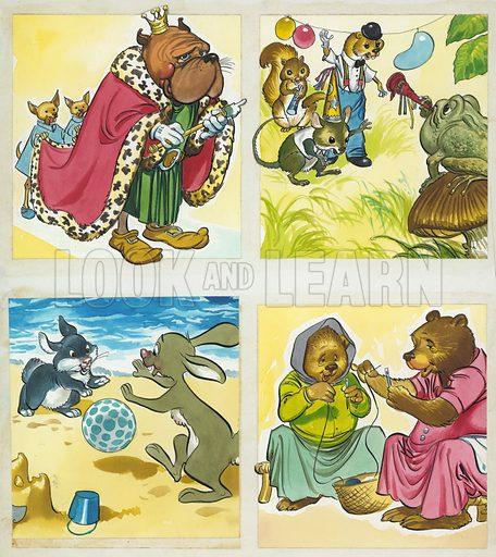 Assorted nursery characters.