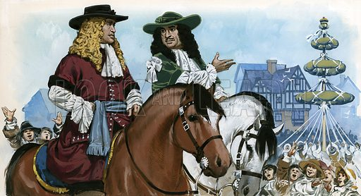 King Charles II restoring amusements to England.