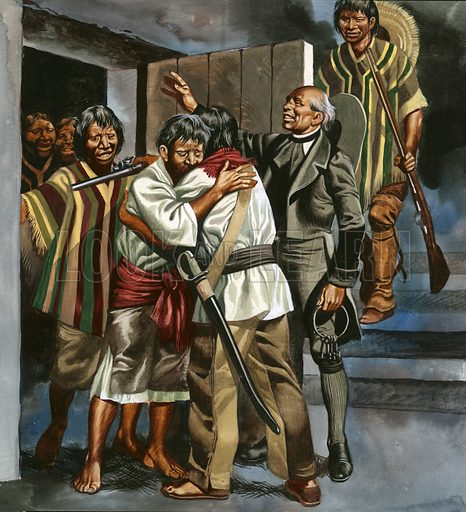 The Mexican revolution began when Father Hidalgo led a band of armed men to the local prison and freed a number of captives.