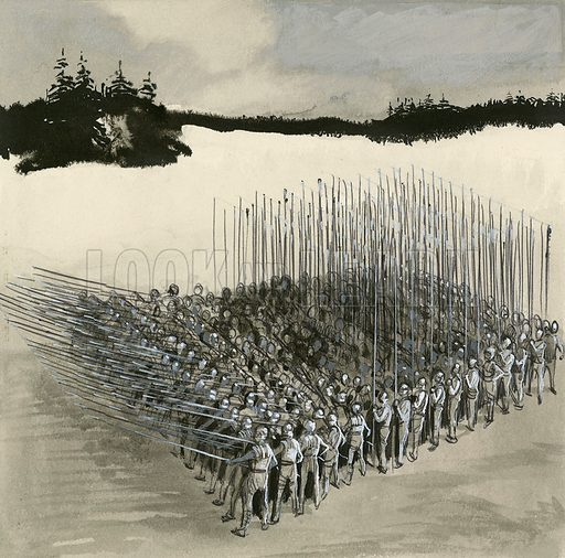 Phalanx of ancient Macedonian soldiers using long spears or pikes called sarissas.