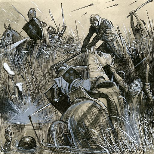 Flemish burghers, or footsoldiers, overcoming the French knights in their heavy armour at Courtrai in 1302.