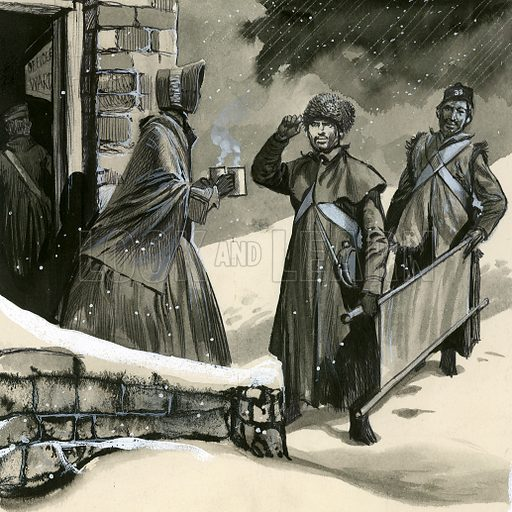 Florence Nightingale greeting soldiers in the snow.