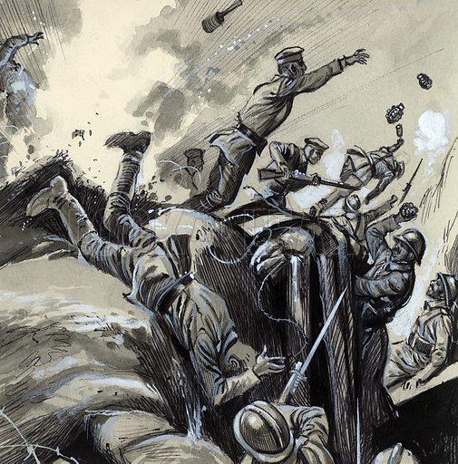 Infantry attack in World War I.