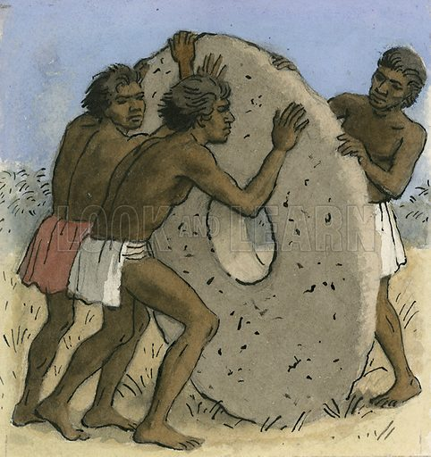 Natives on a South Pacific island using large stone disks as money.