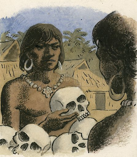 Human skulls being used as currency by the head hunters of Borneo.