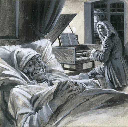 German composer Johann Gottlieb Goldberg playing his Goldberg Variations of Bach to Count Keyserlingk to help him sleep, 18th Century.
