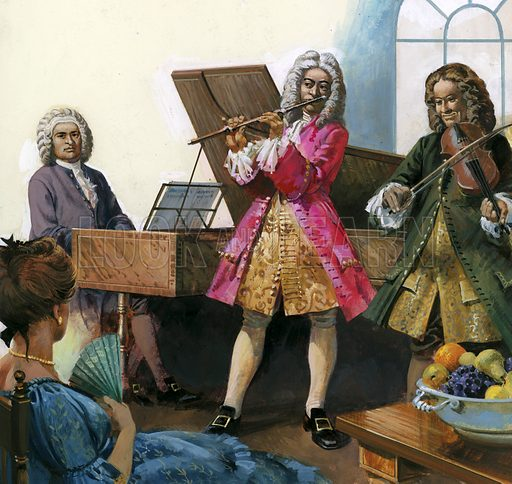 Bach playing music with members of his own family.
